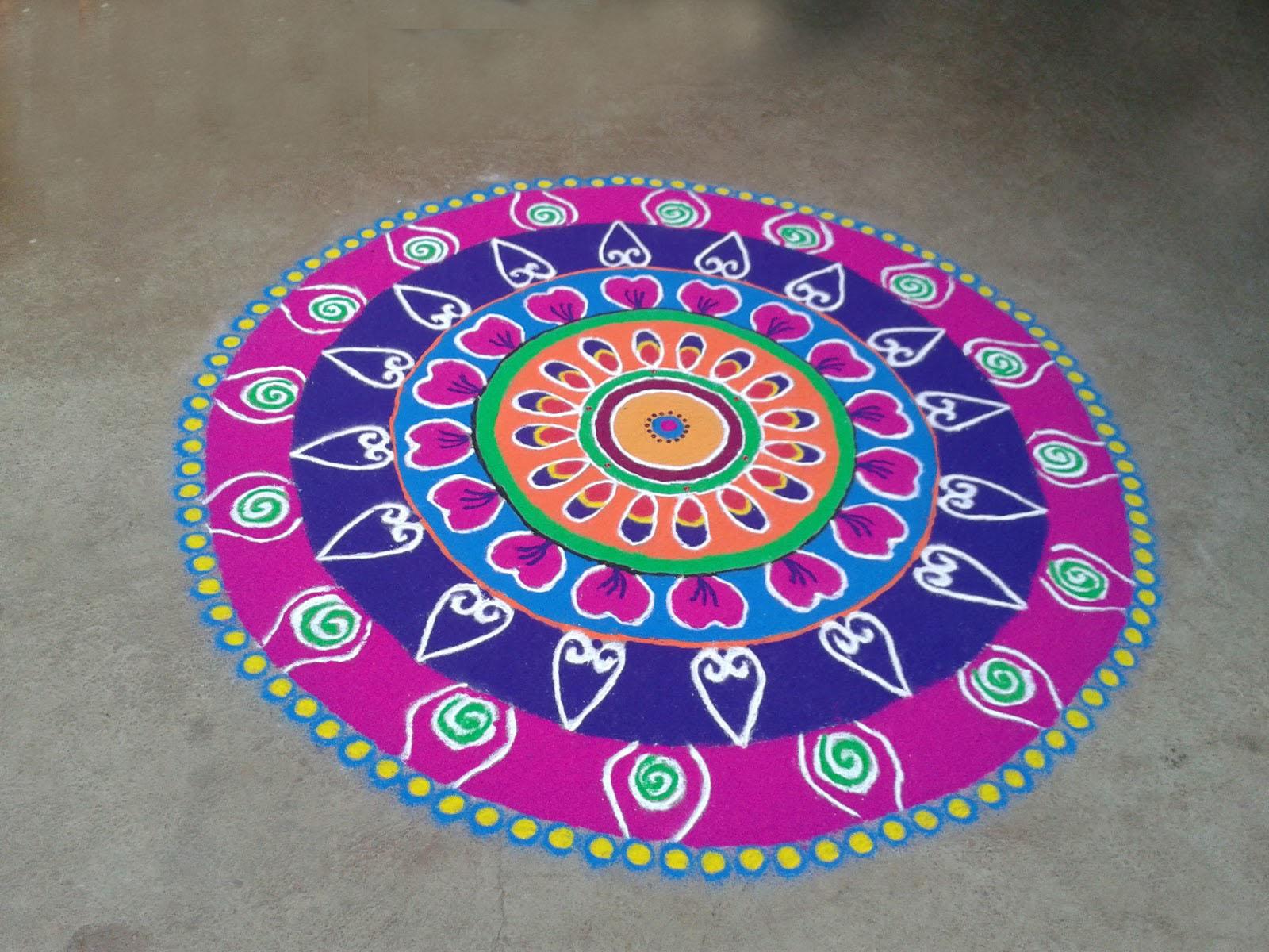 Rangoli Designs for Diwali 2016 - Free Hand Rangoli with Colors